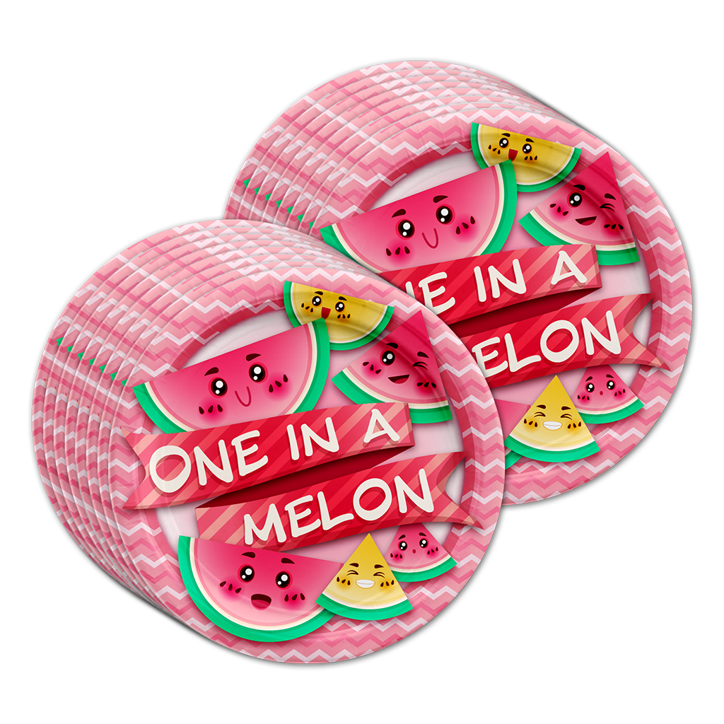 One in a Melon 1st Birthday Party Tableware Kit For 16 Guests - BirthdayGalore.com