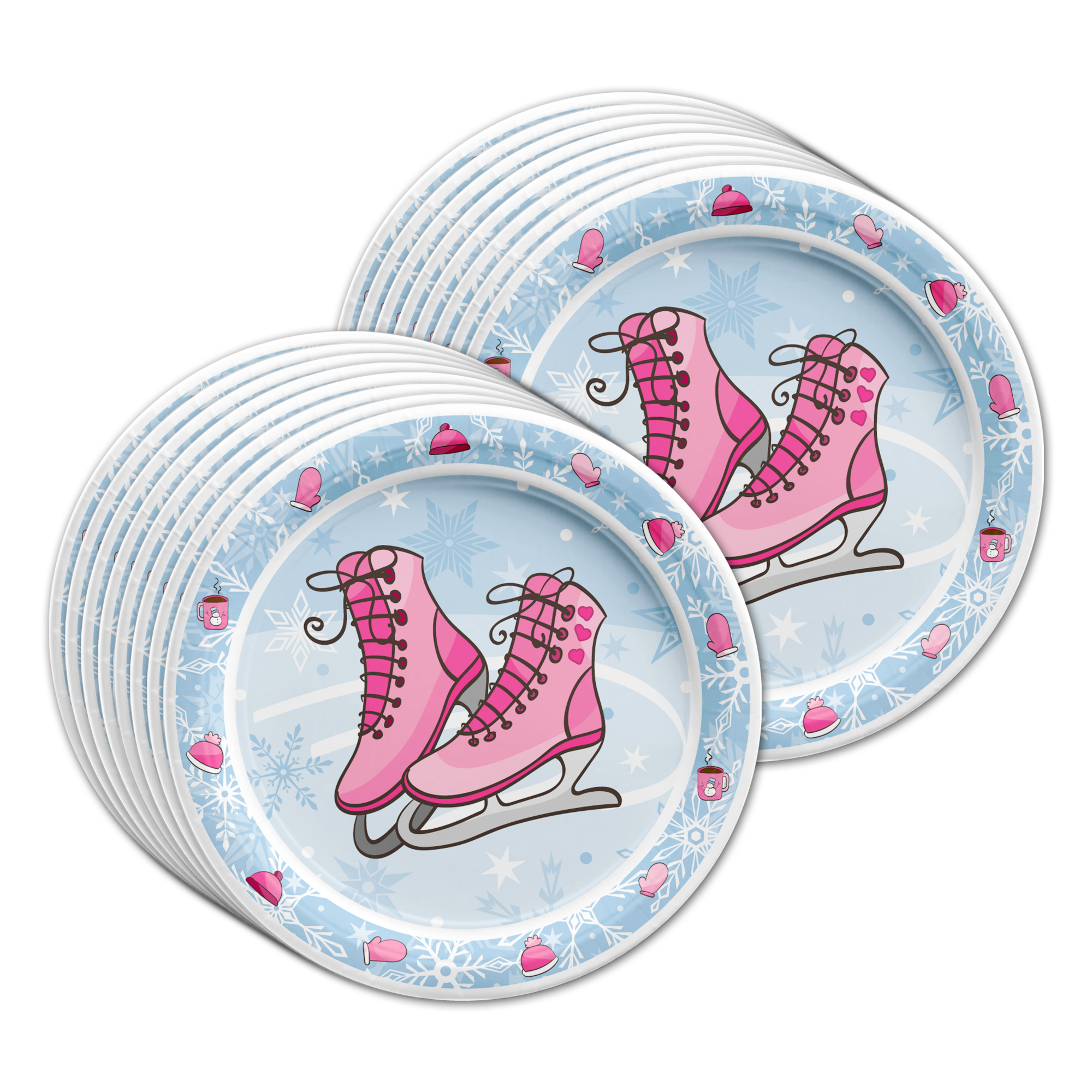 Ice Skating Birthday Party Tableware Kit For 16 Guests - BirthdayGalore.com
