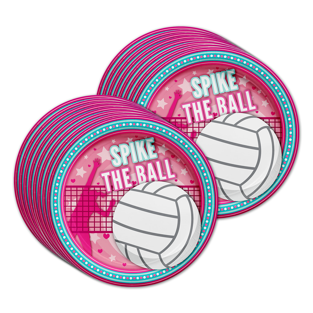 I Love Volleyball Birthday Party Tableware Kit For 16 Guests - BirthdayGalore.com