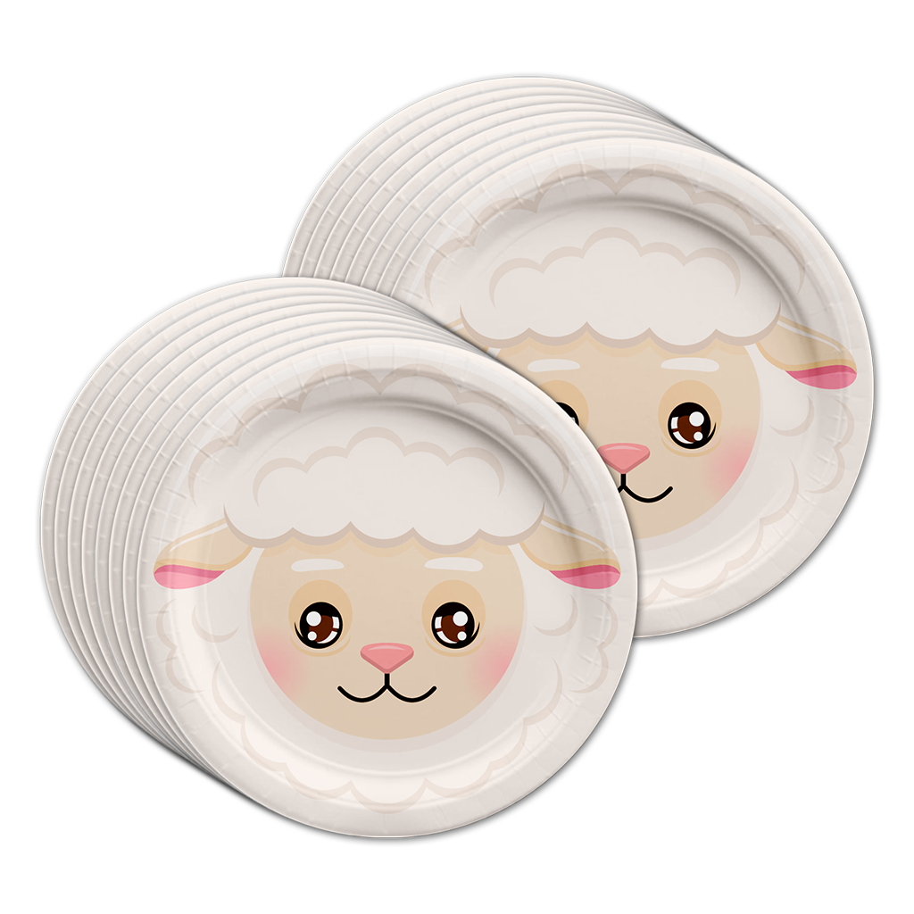 Sheep Birthday Party Tableware Kit For 16 Guests - BirthdayGalore.com