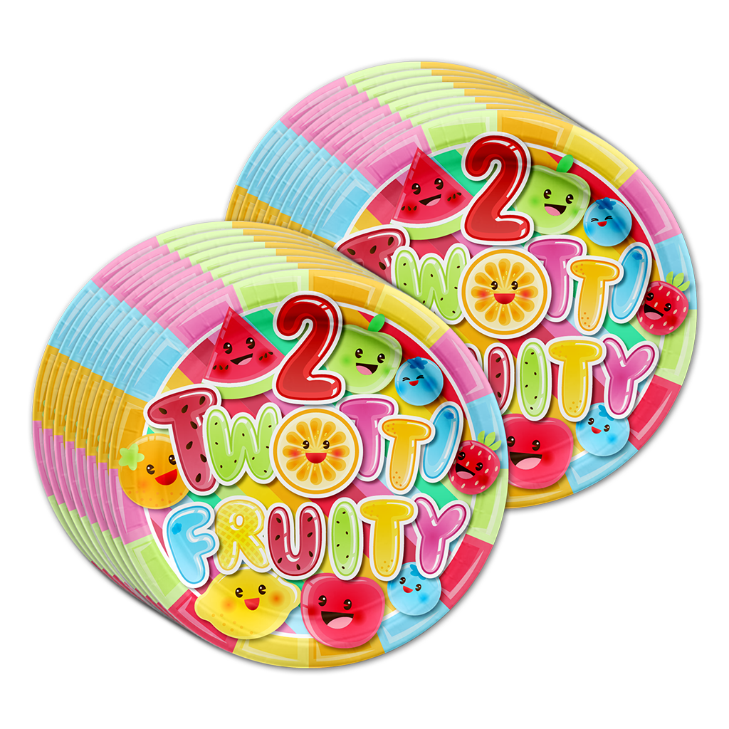 Two-tti Fruity 2nd Birthday Party Tableware Kit For 16 Guests - BirthdayGalore.com