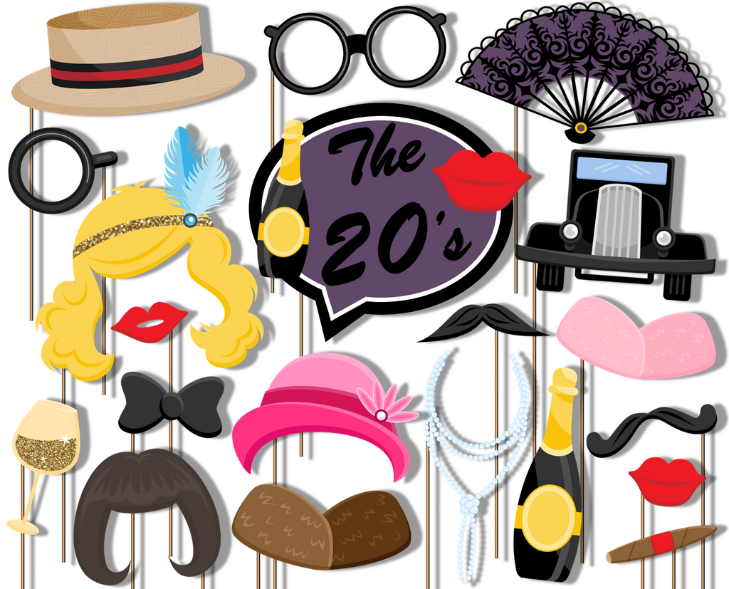 Roaring 20s Decade Photo Booth Props 20pcs Assembled
