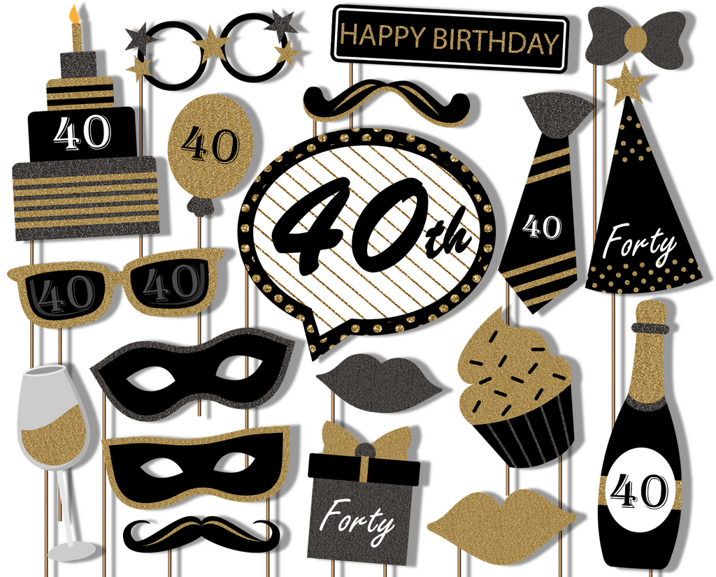 40th Birthday Black & Gold Photo Booth Props 20pcs Assembled