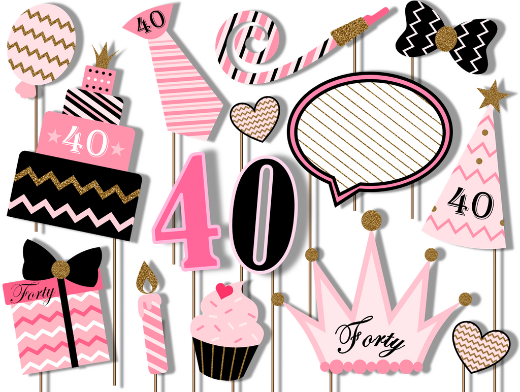 40th Birthday Pink & Gold Photo Booth Props 20pcs Assembled