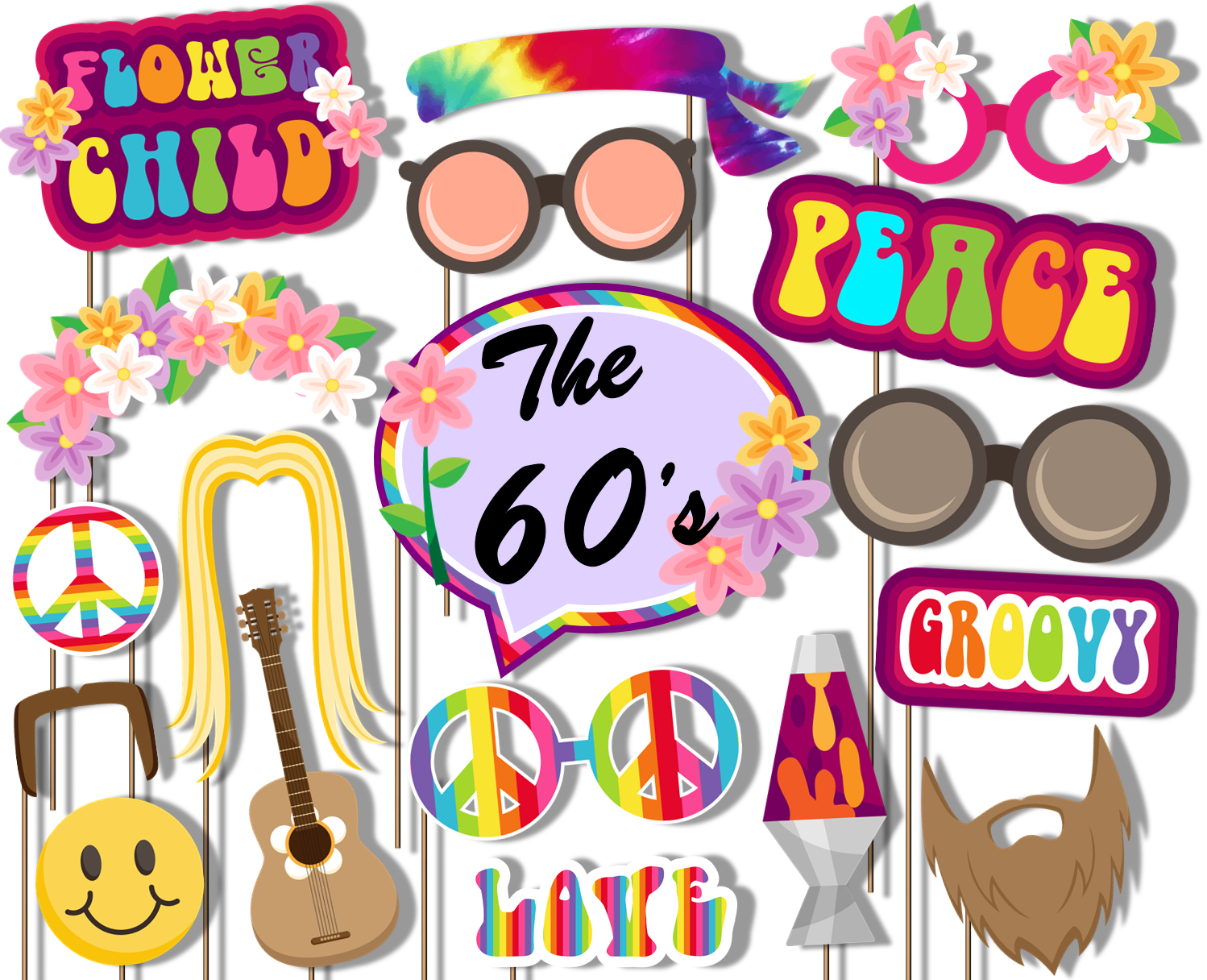 60's Hippie Decade Photo Booth Props 20pcs Assembled - BirthdayGalore.com