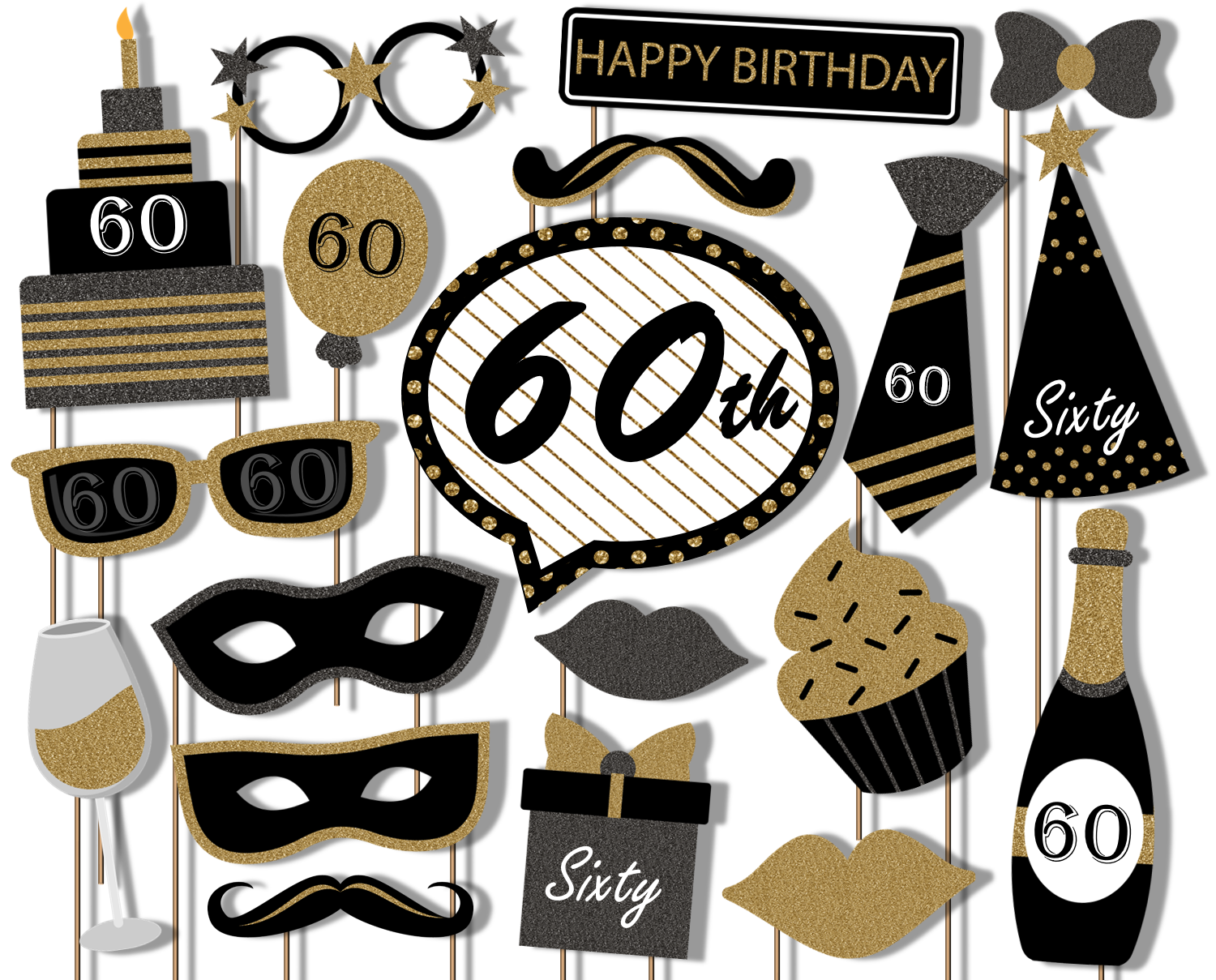 60th Birthday Black & Gold Photo Booth Props 20pcs Assembled - BirthdayGalore.com