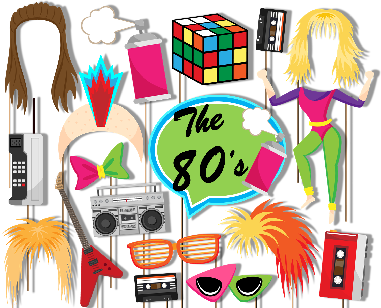 80's Totally Awesome Decade Photo Booth Props 20pcs Assembled