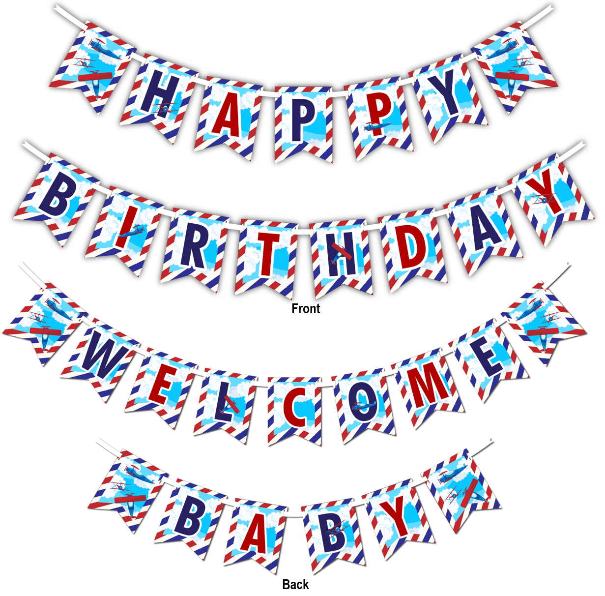 "Airplane Multi Use ""Happy Birthday"" or ""Welcome Baby"" Shower Party Banner - BirthdayGalore.com"