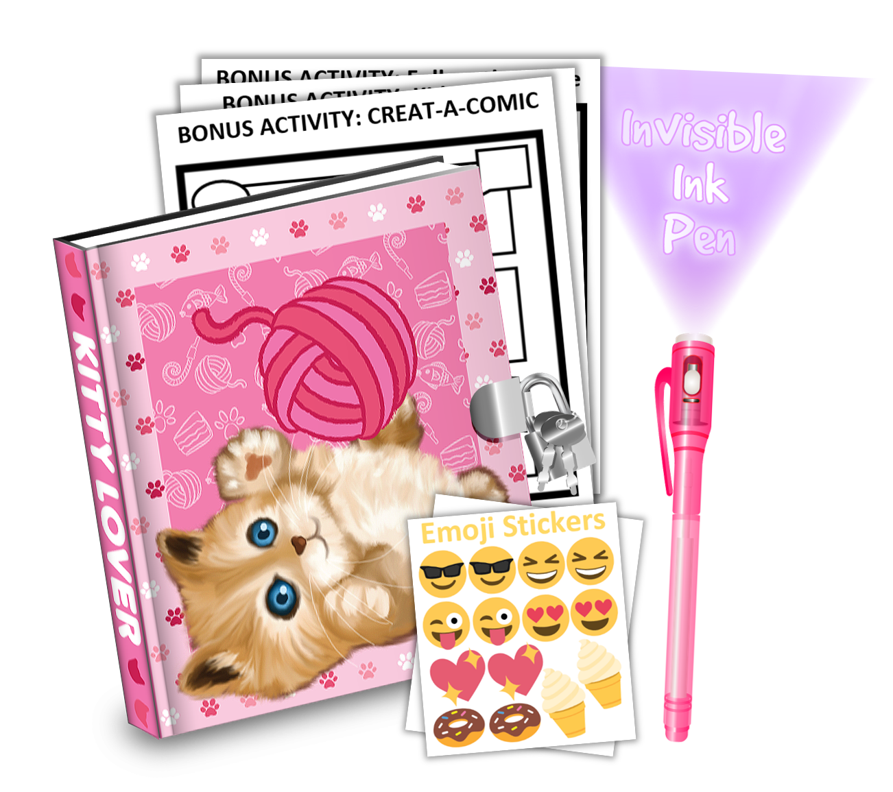 Gift Idea: Kitty Cat Kids Diary With Lock