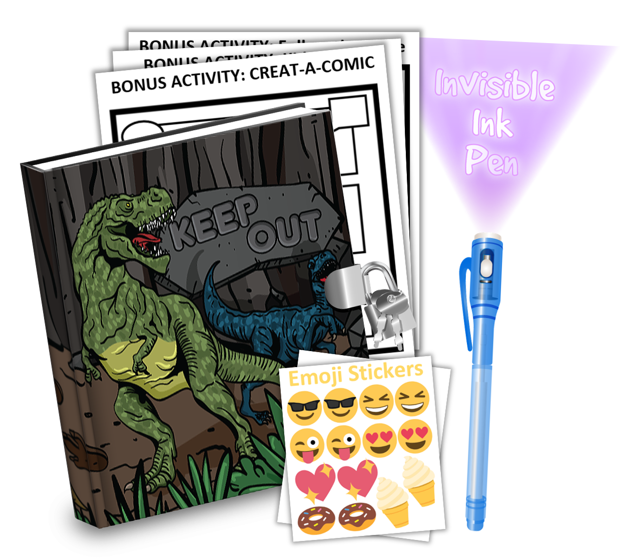 Gift Idea: Dinosaur T-Rex Kids Diary With Lock