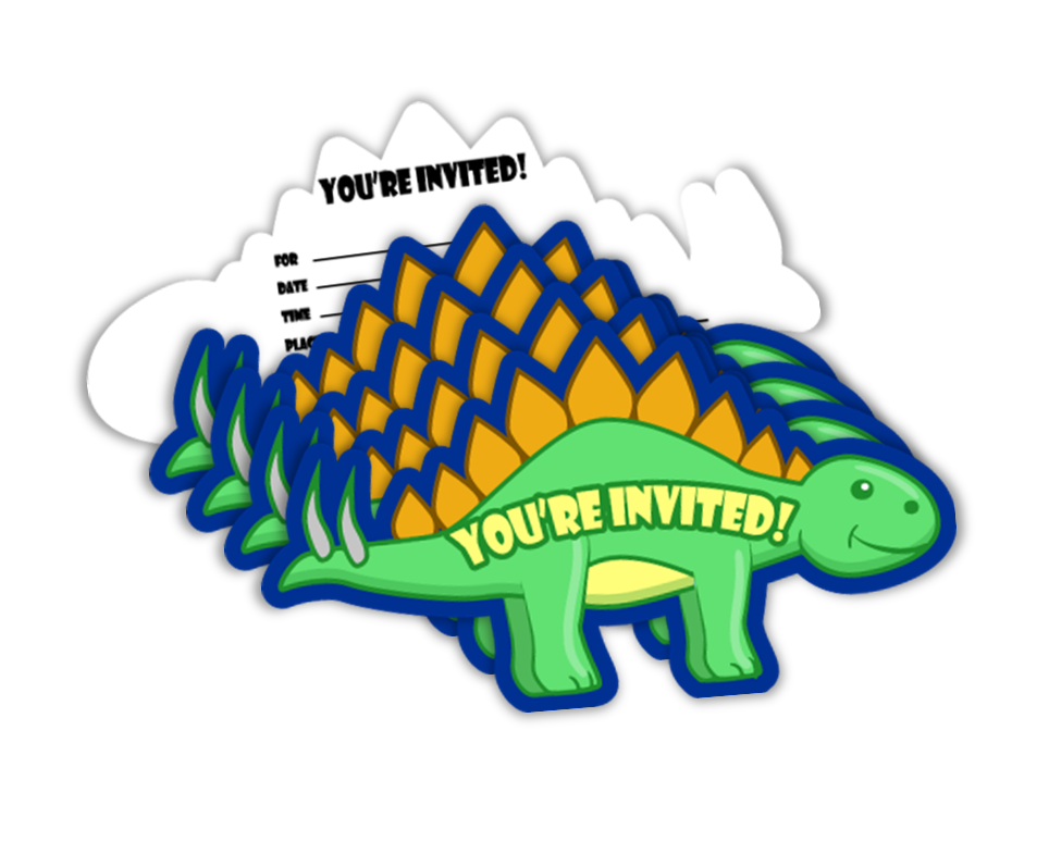 Little Dino Dinosaur Birthday Party Invitations (20) - BirthdayGalore.com