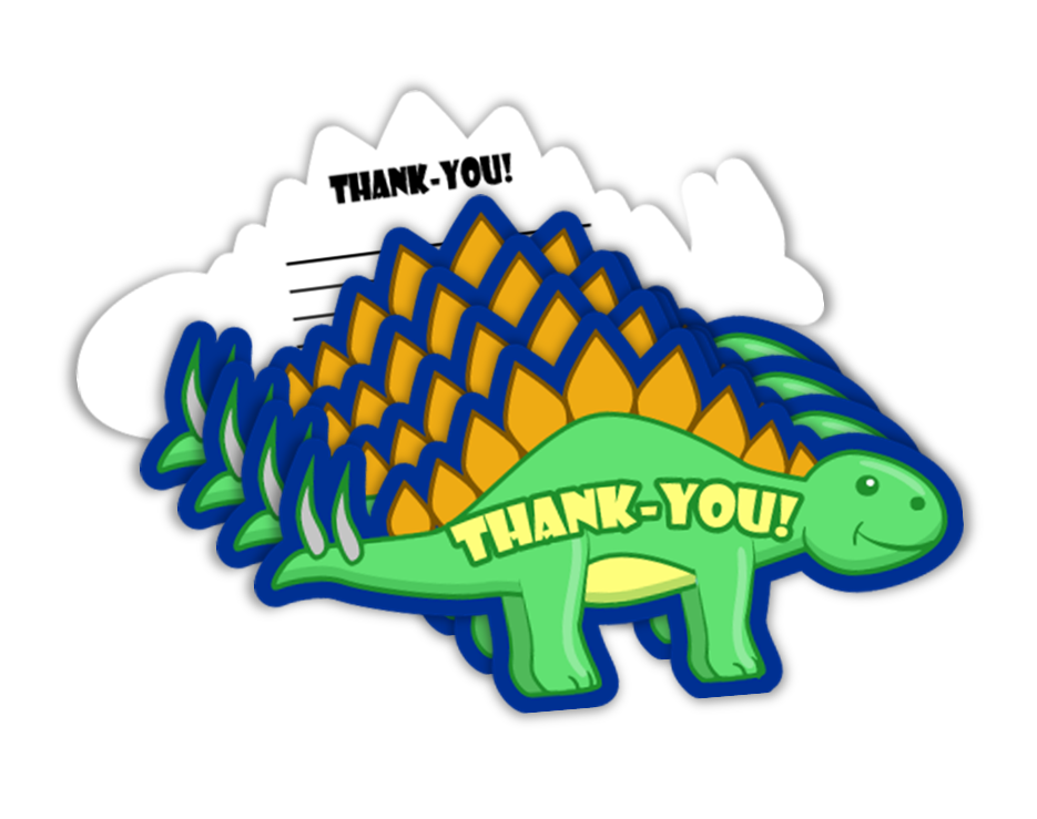 Little Dino Dinosaur Birthday Party Thank-you Notes (20) - BirthdayGalore.com