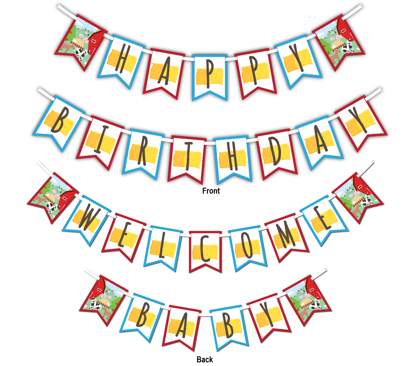 "Barnyard Farm Animals Multi Use ""Happy Birthday"" or ""Welcome Baby"" Shower Party Banner - BirthdayGalore.com"