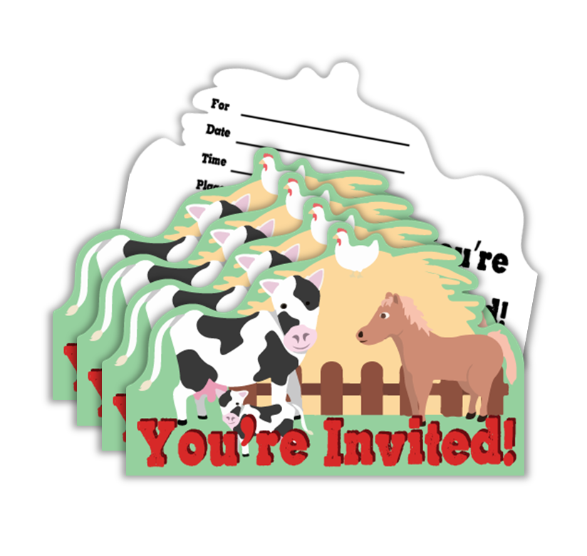 Barnyard Farm Animals Birthday Party Invitations (20)