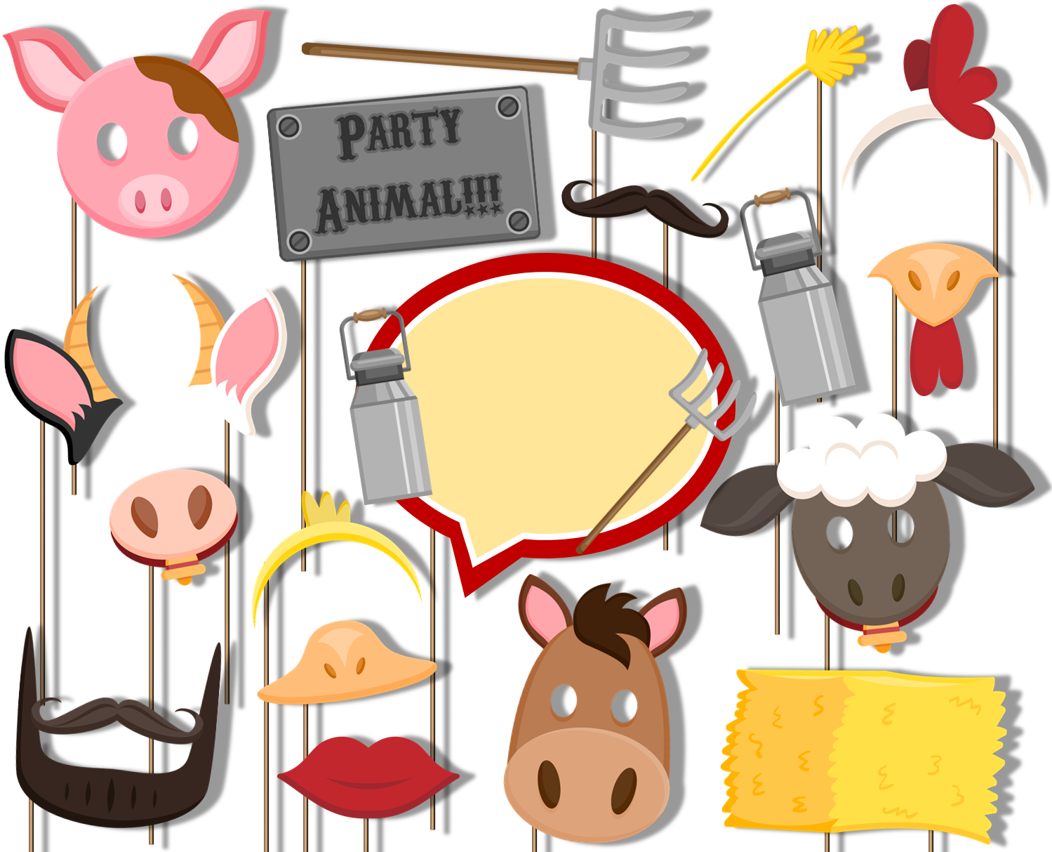 Farm Animals Barnyard Photo Booth Props 20pcs Assembled - BirthdayGalore.com