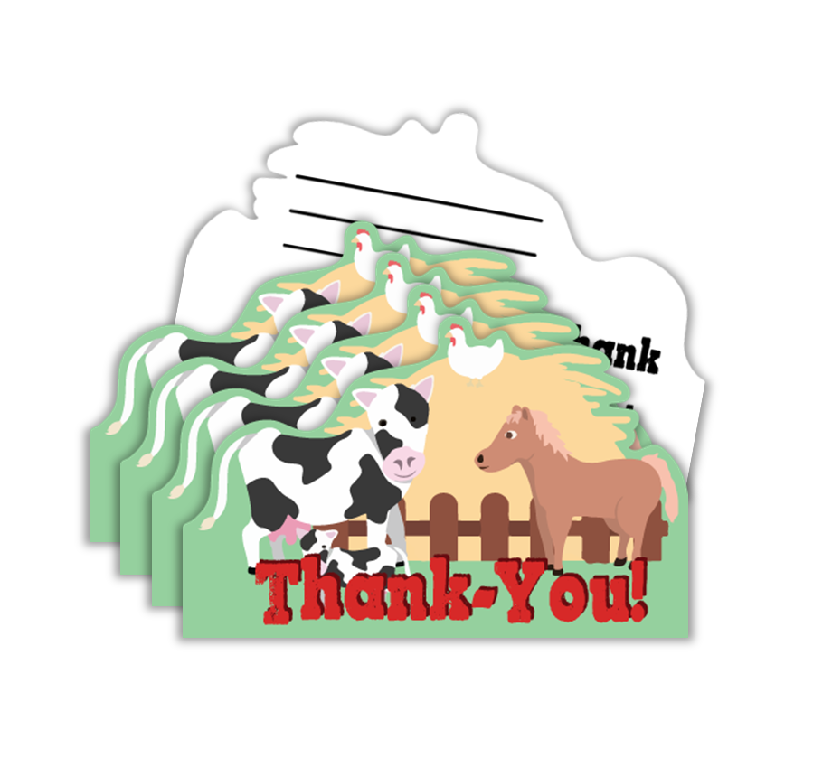 Barnyard Farm Animals Birthday Party Thank-you Notes (20) - BirthdayGalore.com