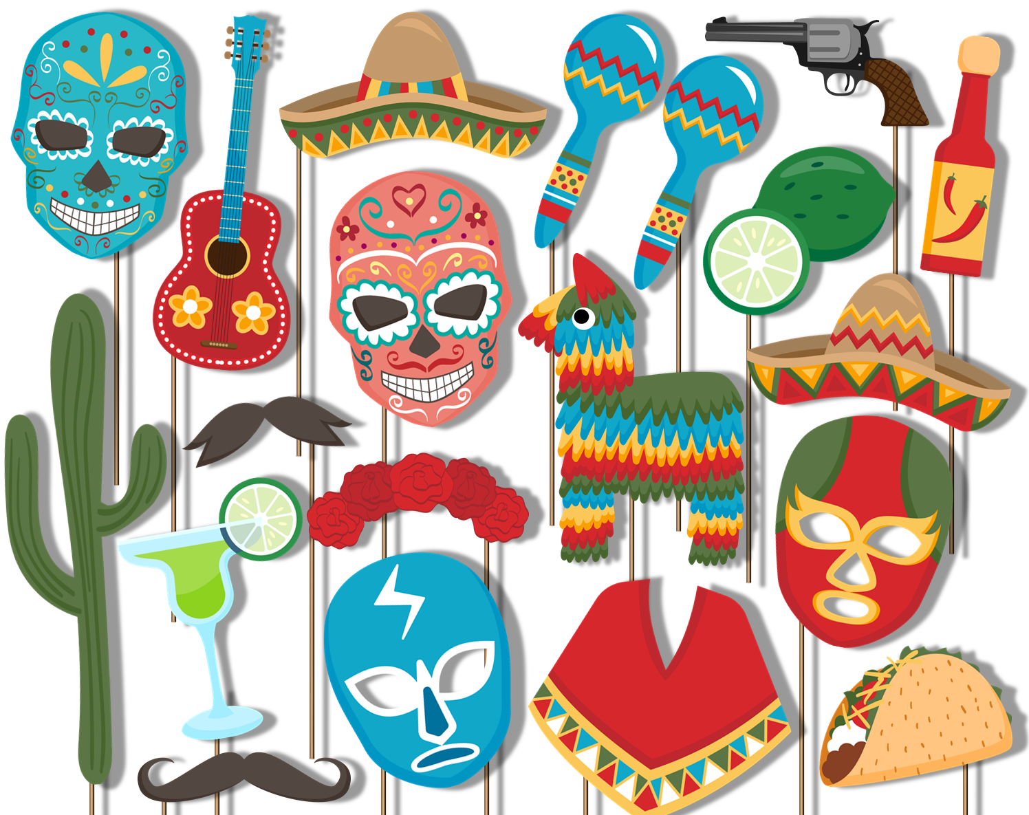 Mexican Fiesta Photo Booth Props 20pcs Assembled