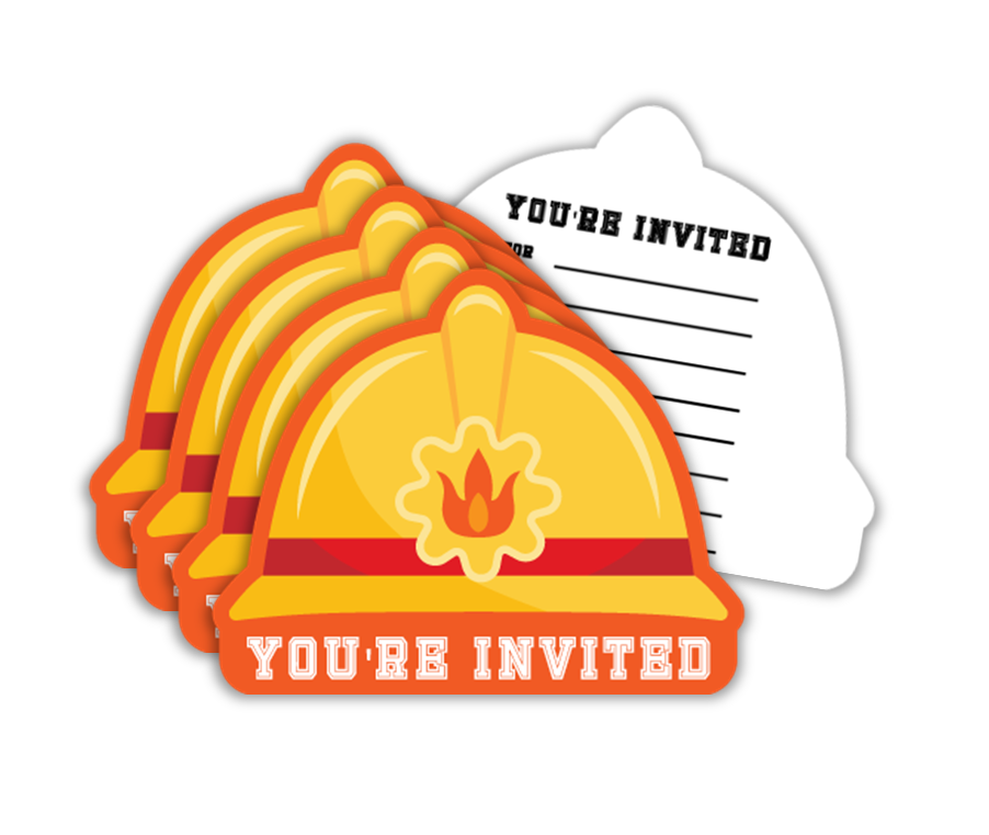 Fire Fighter Birthday Party Invitations (20) - BirthdayGalore.com