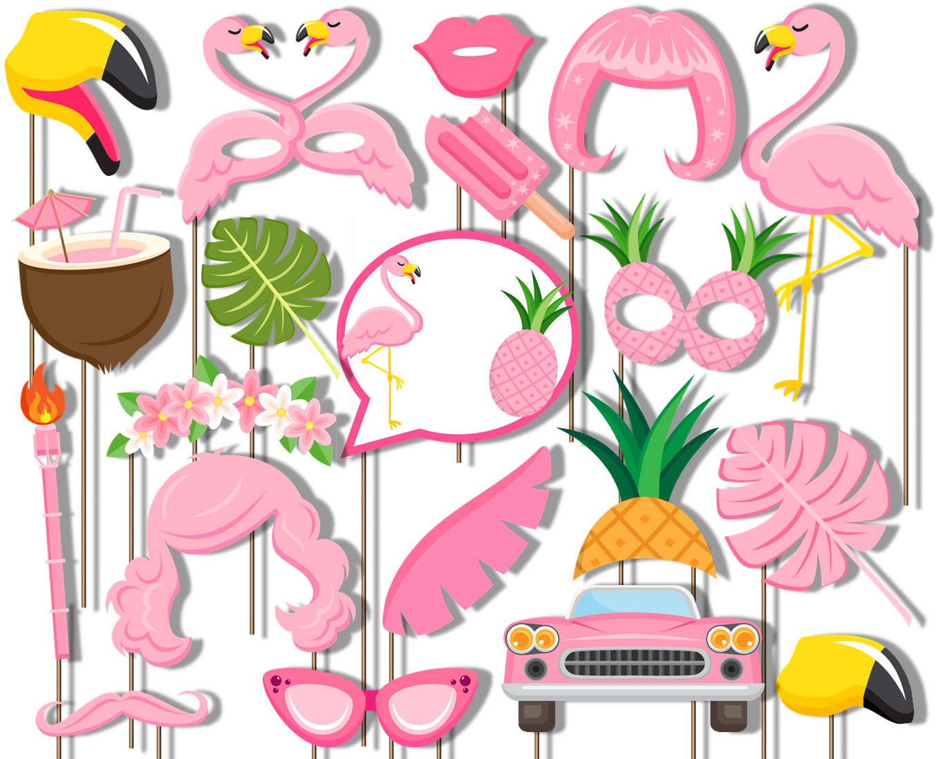 Pink Flamingo Photo Booth Props 20pcs Assembled - BirthdayGalore.com