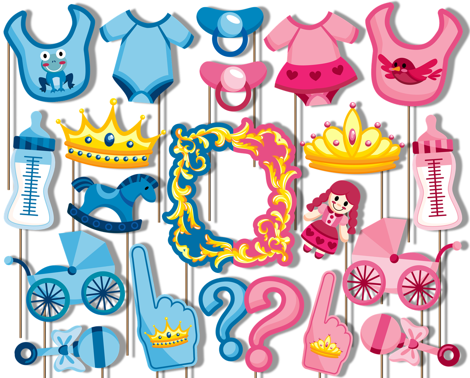 Prince or Princess Gender Reveal Photo Booth Props 20pcs Assembled