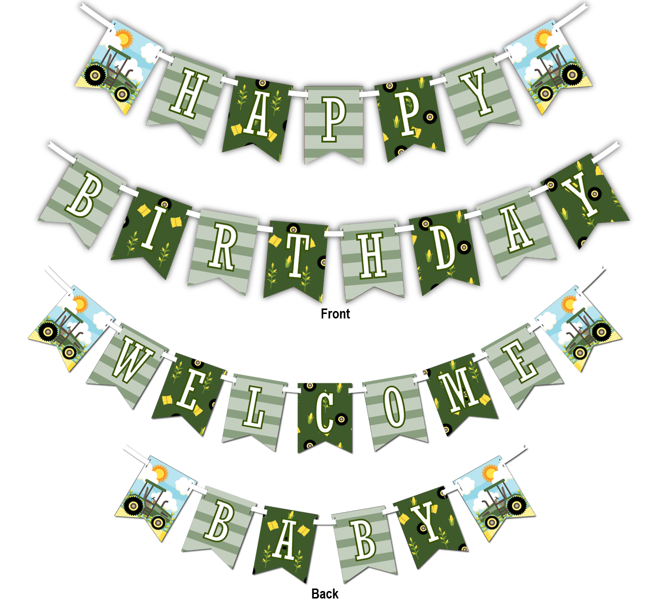 "Tractor Time Multi Use ""Happy Birthday"" or ""Welcome Baby"" Shower Party Banner - BirthdayGalore.com"