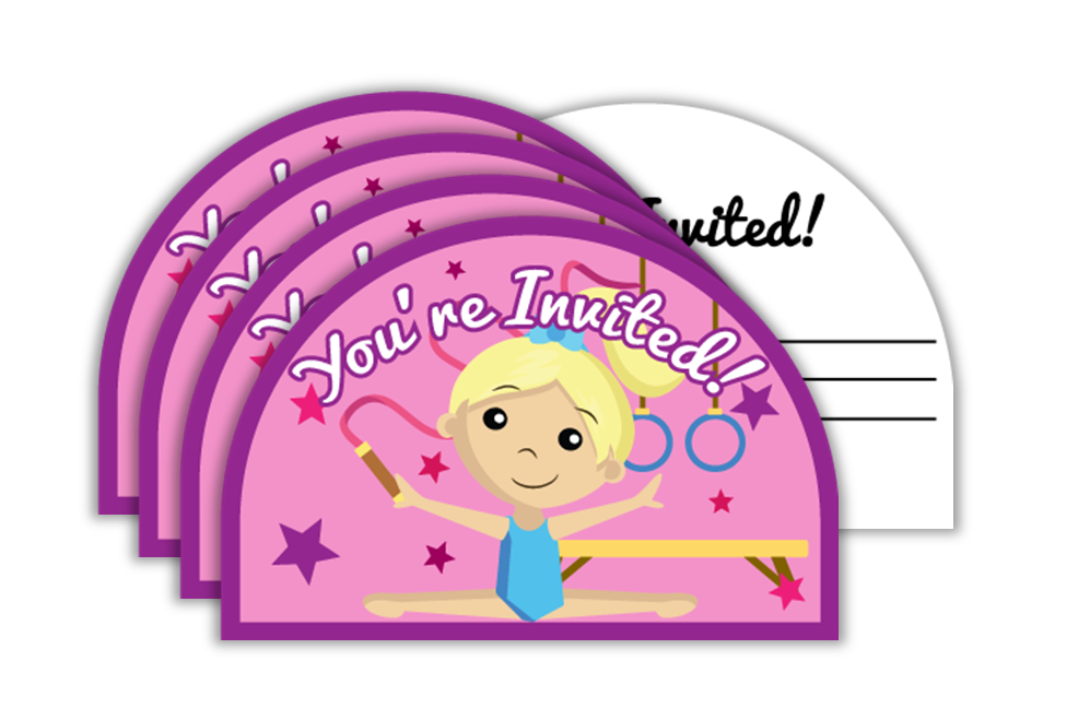 Gymnastics Star Birthday Party Invitations (20) - BirthdayGalore.com