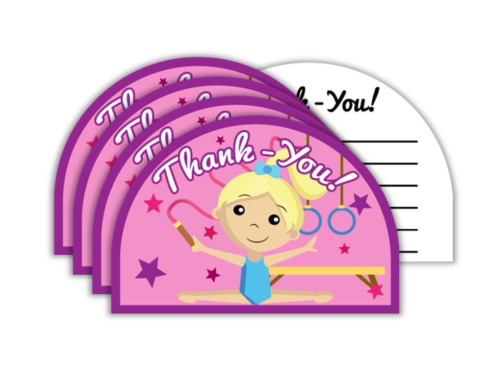 Gymnastics Star Birthday Party Thank-you Notes (20) - BirthdayGalore.com