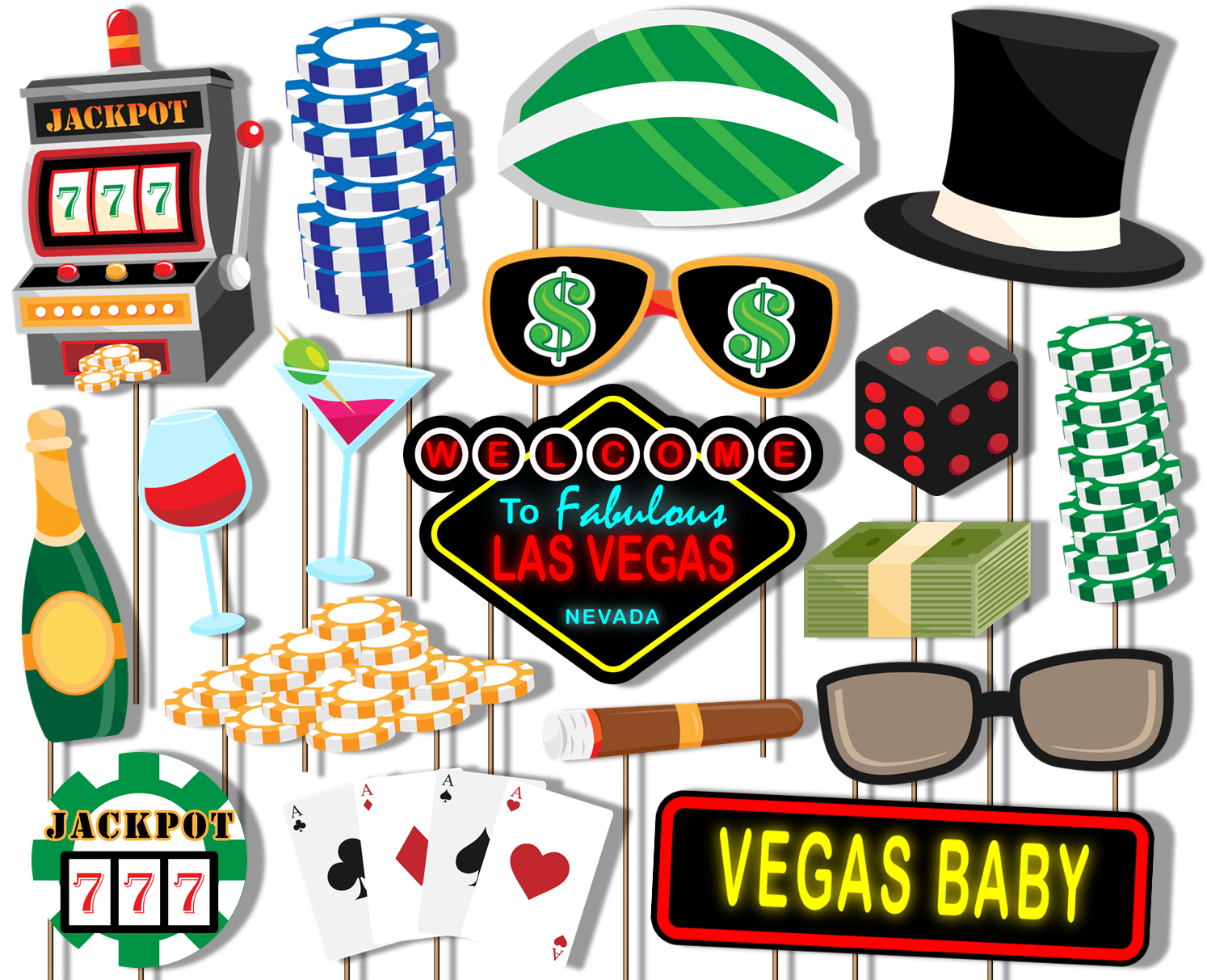 Las Vegas Casino Photo Booth Props 20pcs Assembled - BirthdayGalore.com