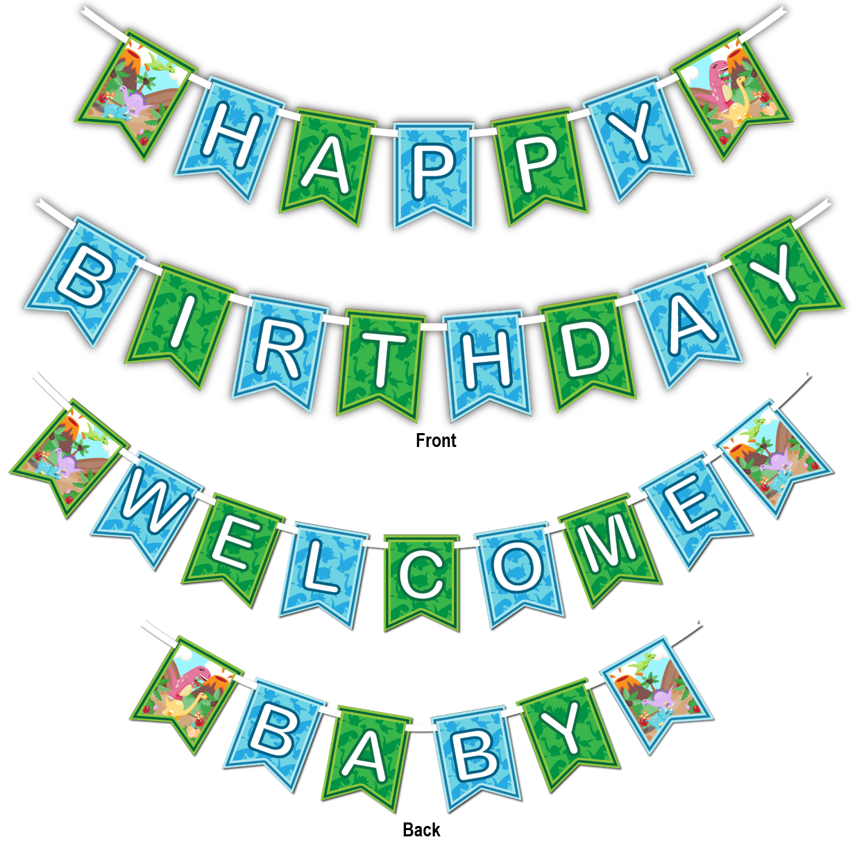 "Little Dino Dinosaur Multi Use ""Happy Birthday"" or ""Welcome Baby"" Shower Party Banner - BirthdayGalore.com"