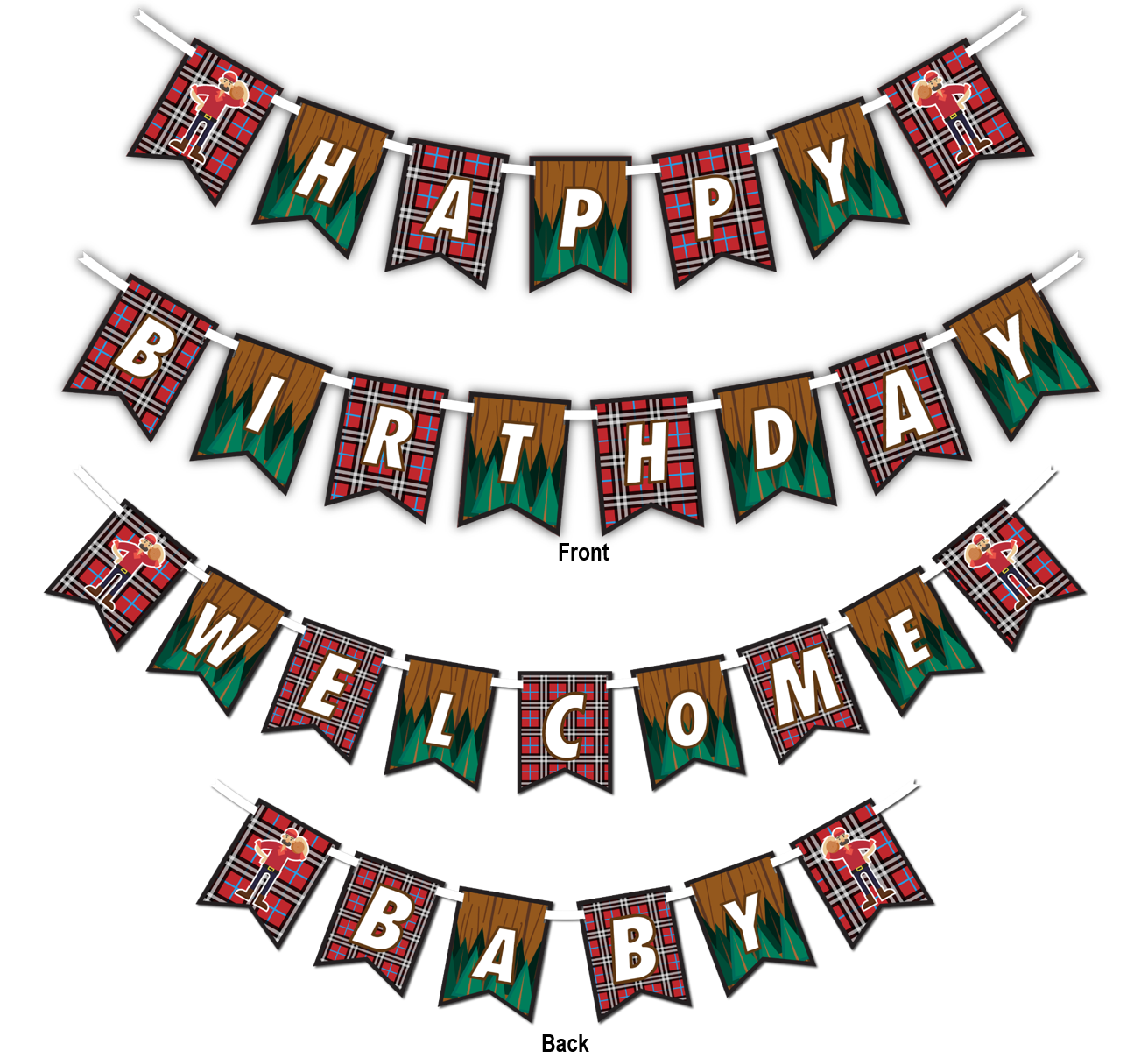"Lumberjack Multi Use ""Happy Birthday"" or ""Welcome Baby"" Shower Party Banner - BirthdayGalore.com"