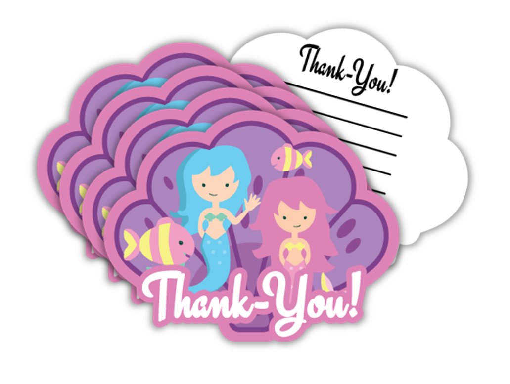 Mermaid Birthday Party Thank-you Notes (20) - BirthdayGalore.com