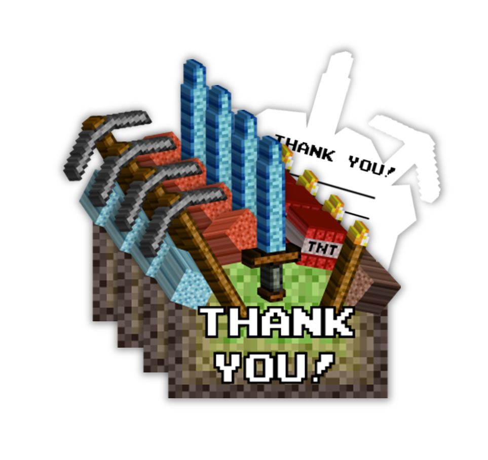 Pixel Mining Birthday Party Thank-You Notes (20) - BirthdayGalore.com
