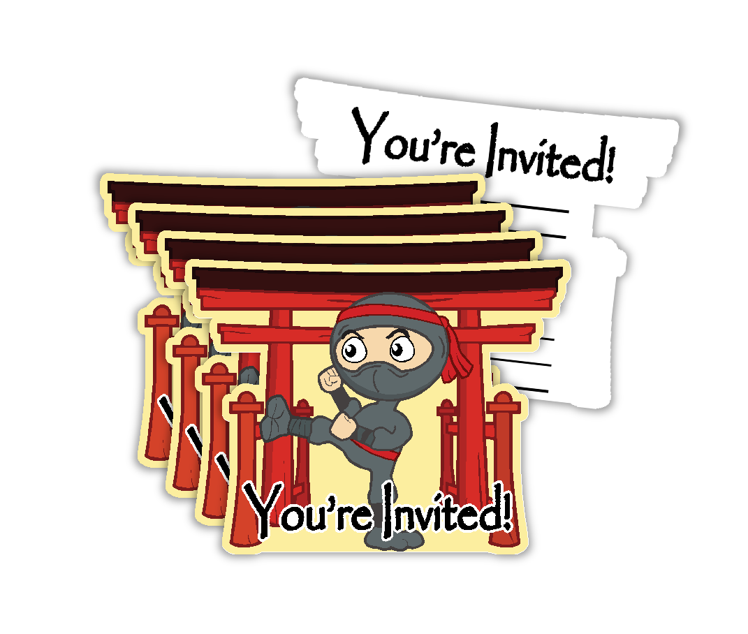 Ninja Warrior Birthday Party Invitations (20) - BirthdayGalore.com
