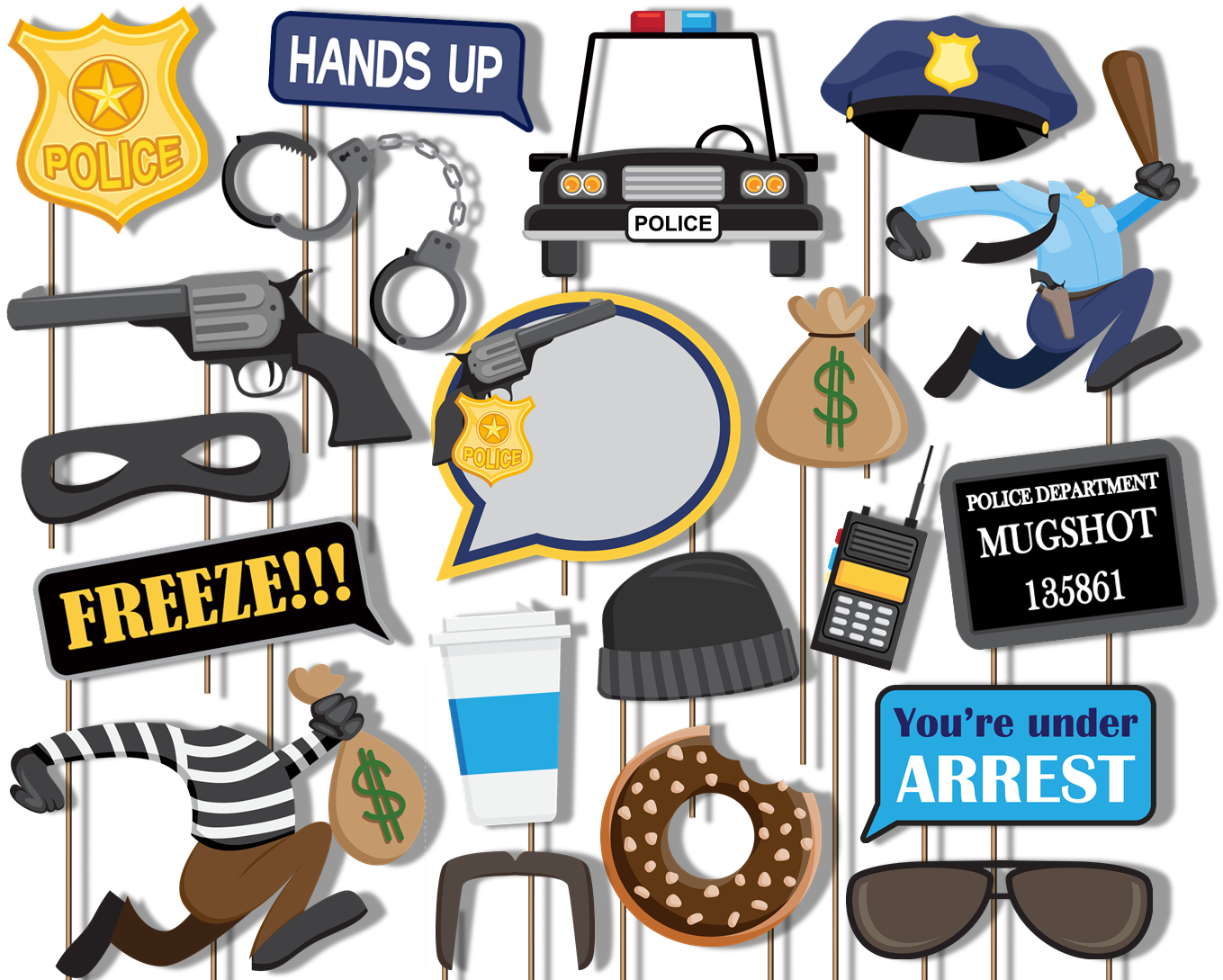 Cops and Robbers Party Photo Booth Props 20pcs Assembled - BirthdayGalore.com