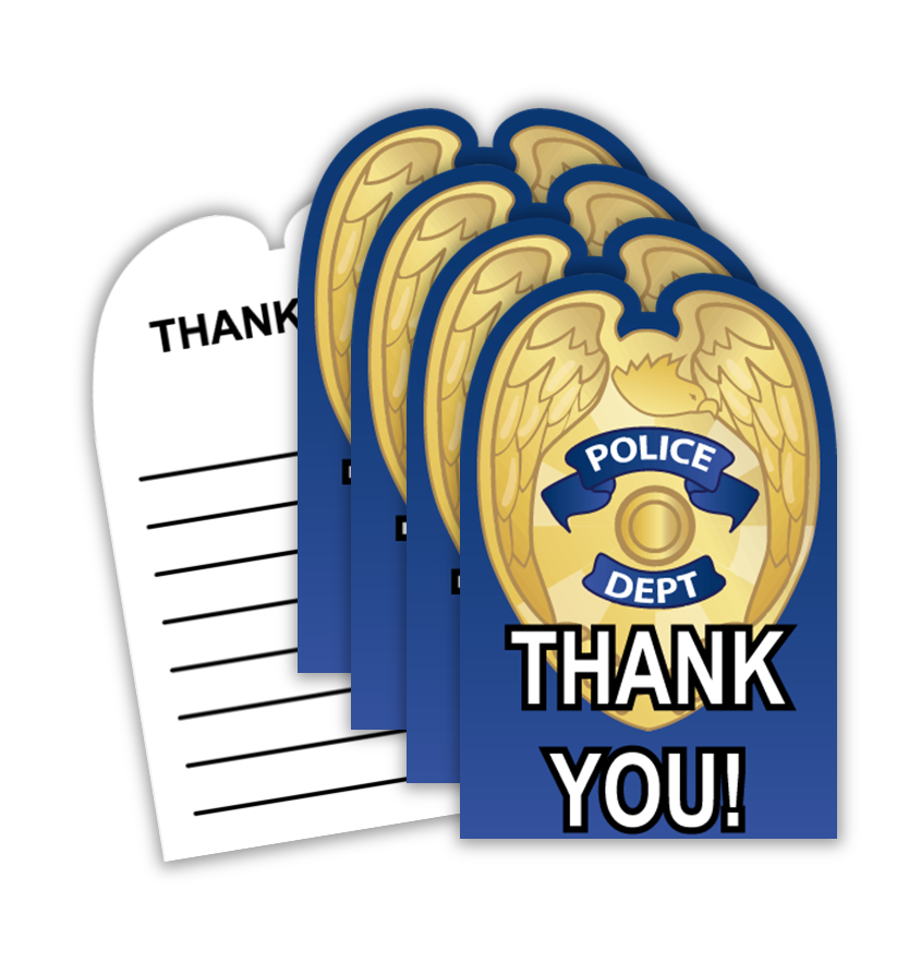 Police Cop Birthday Party Thank-you Notes (20) - BirthdayGalore.com