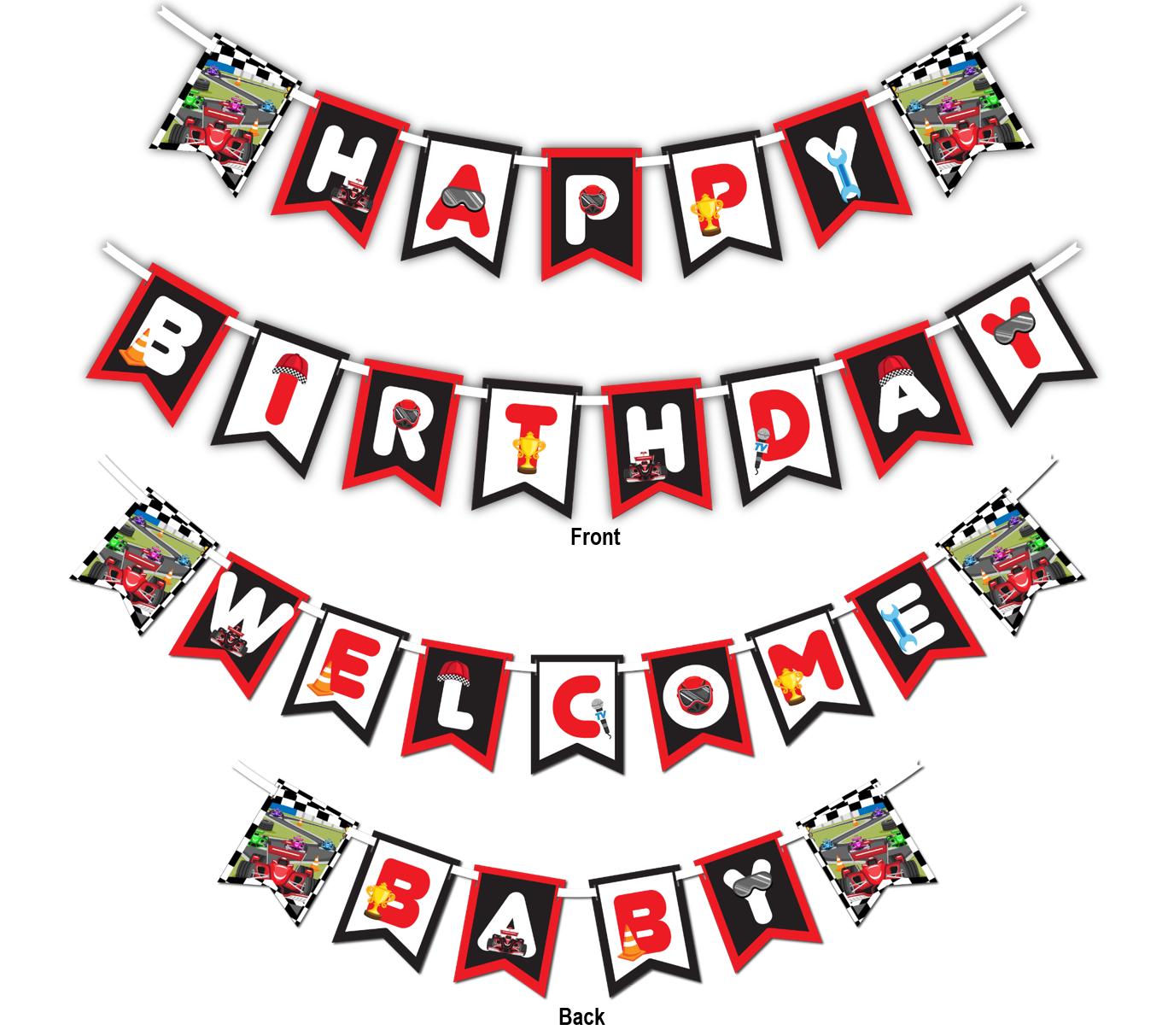 "Racing Race Car Multi Use ""Happy Birthday"" or ""Welcome Baby"" Shower Party Banner - BirthdayGalore.com"