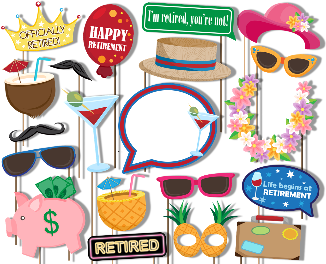 Retirement Party Photo Booth Props 20pcs Assembled - BirthdayGalore.com