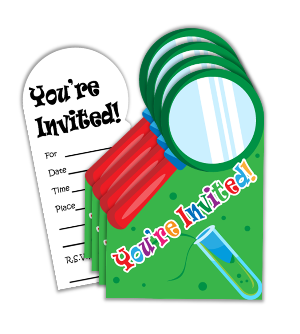 Super Science Birthday Party Invitations (20) - BirthdayGalore.com