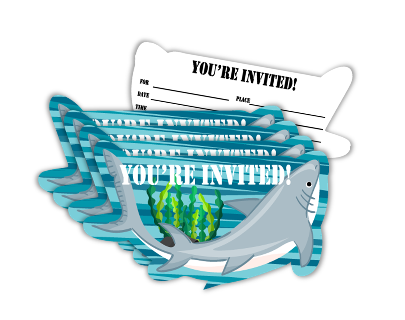 Shark Birthday Party Invitations (20) - BirthdayGalore.com