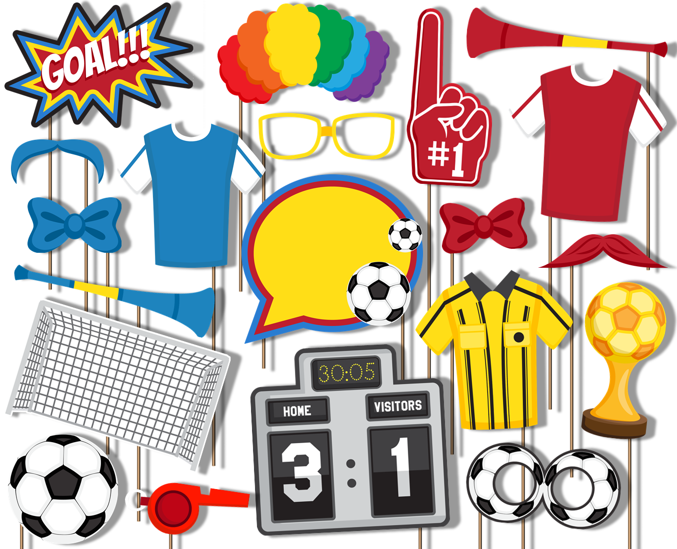 Soccer Photo Booth Props 20pcs Assembled - BirthdayGalore.com