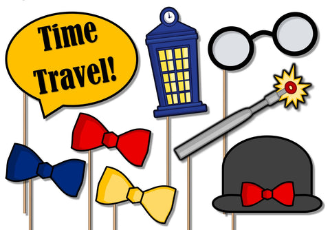 Time Traveler Photo Booth Props 20pcs Assembled