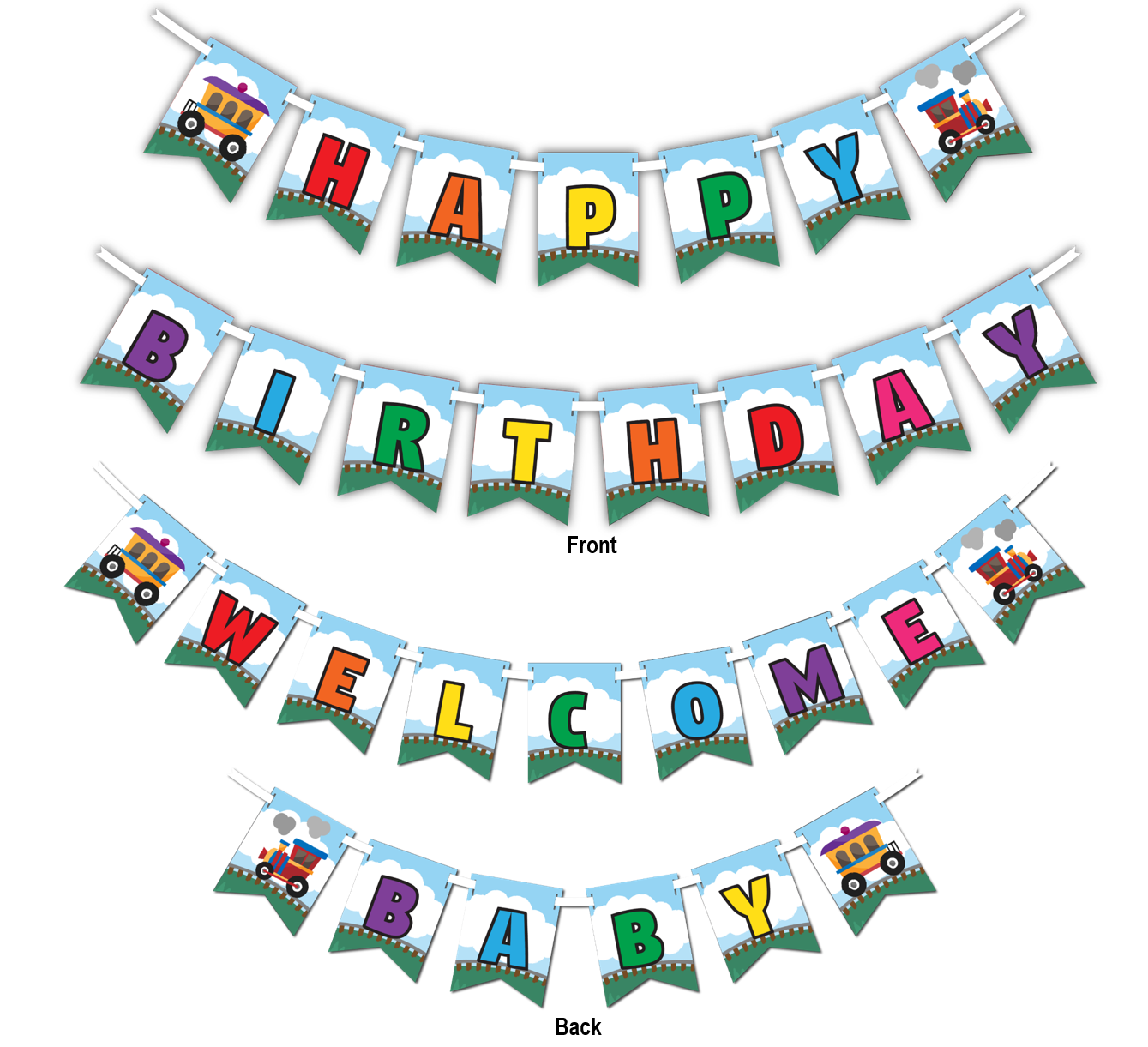 "Train Multi Use ""Happy Birthday"" or ""Welcome Baby"" Shower Party Banner - BirthdayGalore.com"