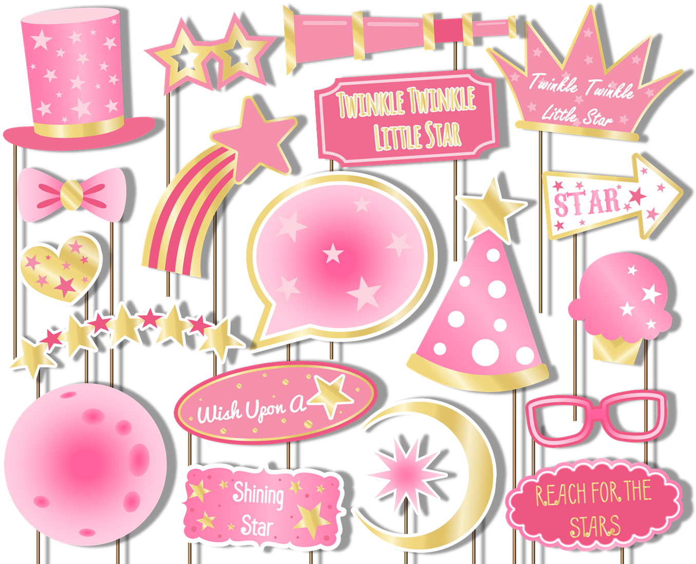Twinkle Little Star Girl Pink Photo Booth Props 20pcs Assembled - BirthdayGalore.com
