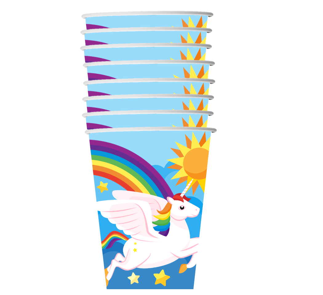Rainbow Unicorn Birthday Party Tableware Kit For 16 Guests - BirthdayGalore.com