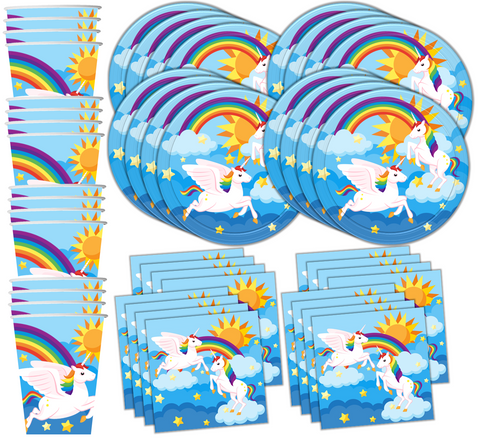 Rainbow Unicorn Birthday Party Tableware Kit For 16 Guests