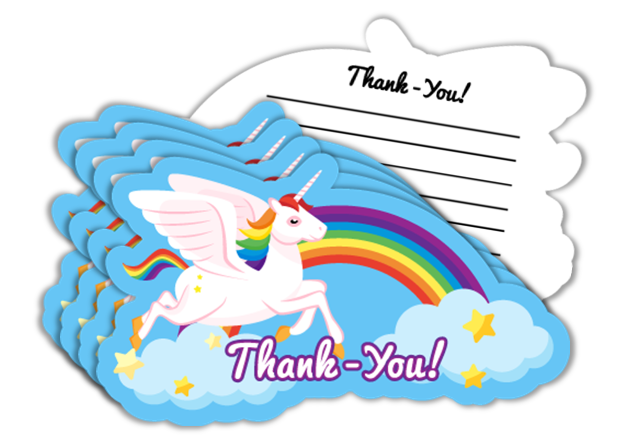 Rainbow Unicorn Birthday Party Thank-you Notes (20) - BirthdayGalore.com