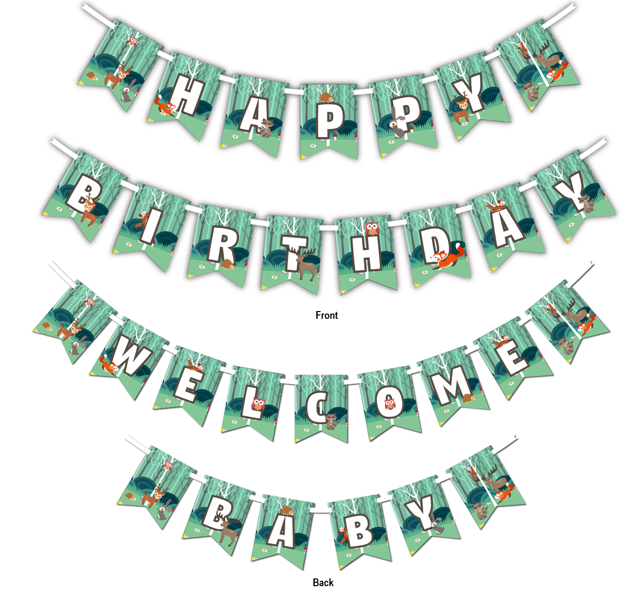 "Woodland Animals Multi Use ""Happy Birthday"" or ""Welcome Baby"" Shower Party Banner"