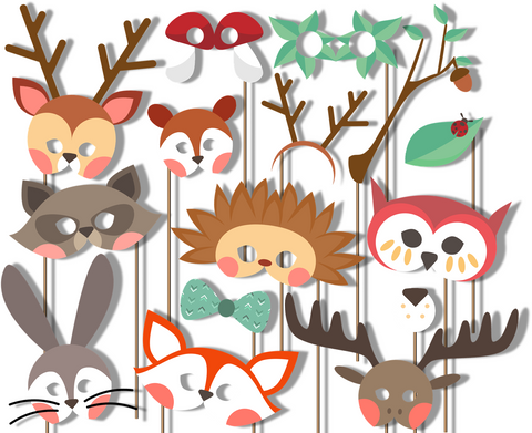 Woodland Animals Photo Booth Props 20pcs Assembled