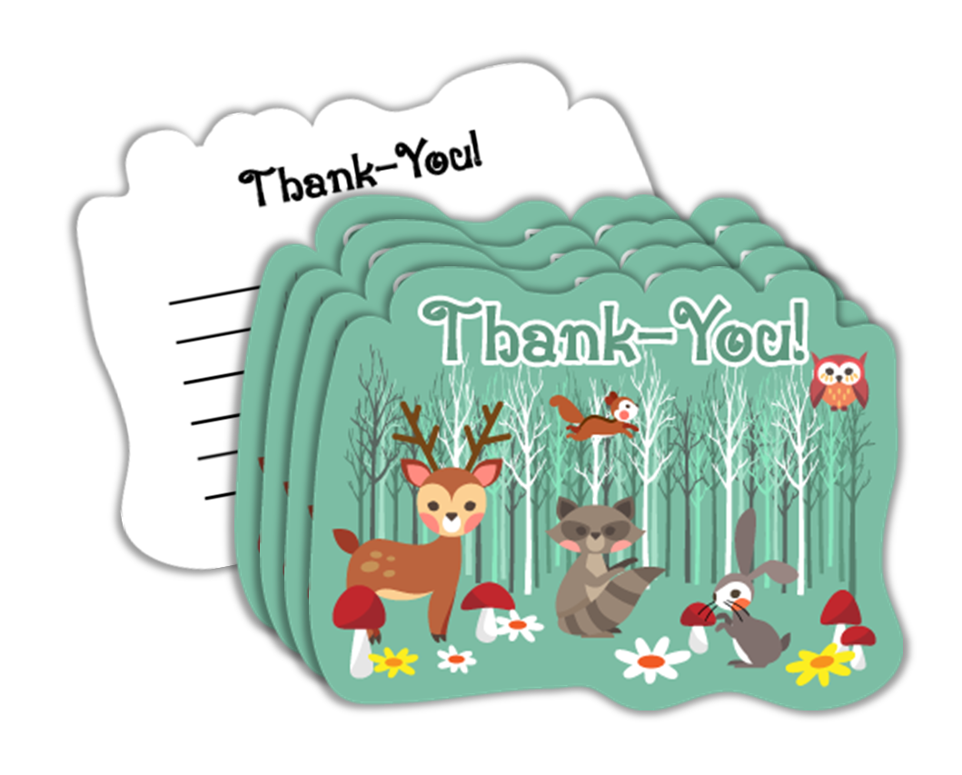 Woodland Animals Birthday Party Thank-you Notes (20) - BirthdayGalore.com