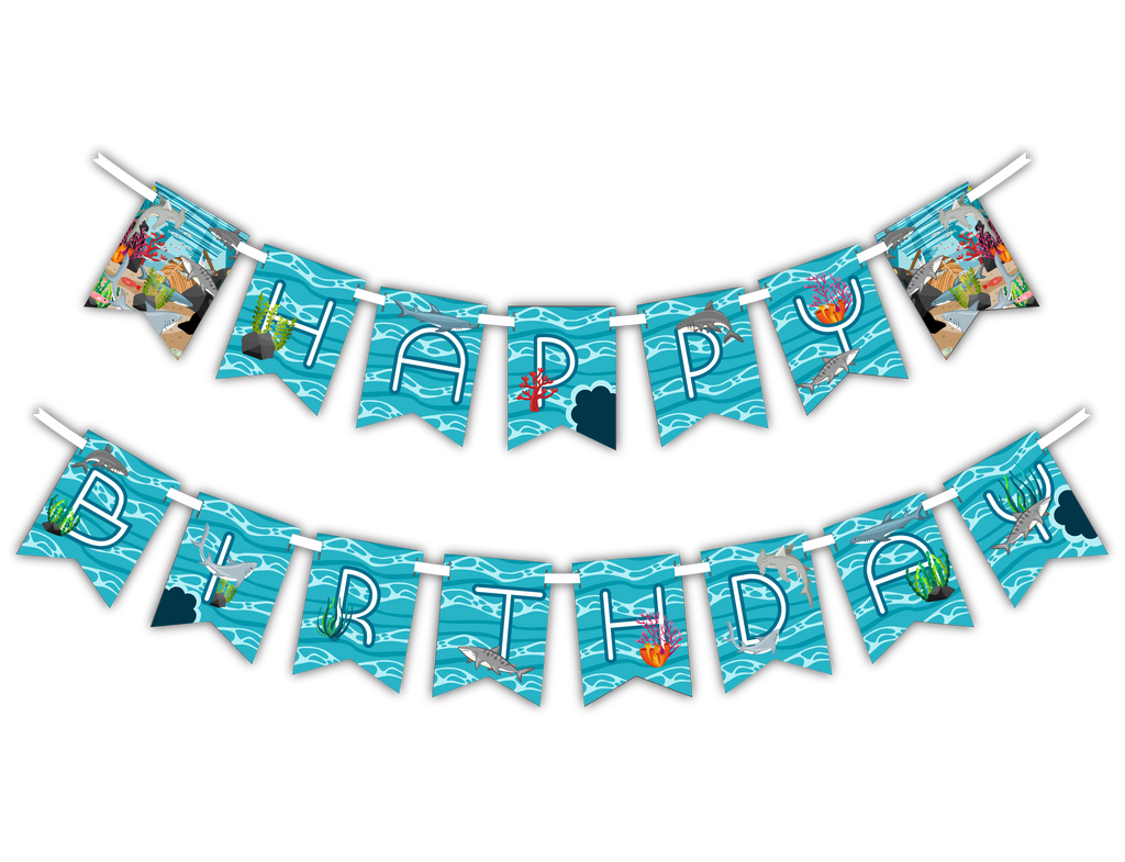 "Shark ""Happy Birthday"" Party Banner"